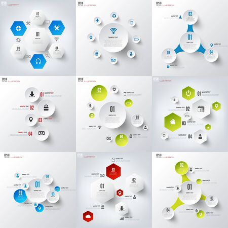 global background: Set with infographics. Data and information visualization. Template.