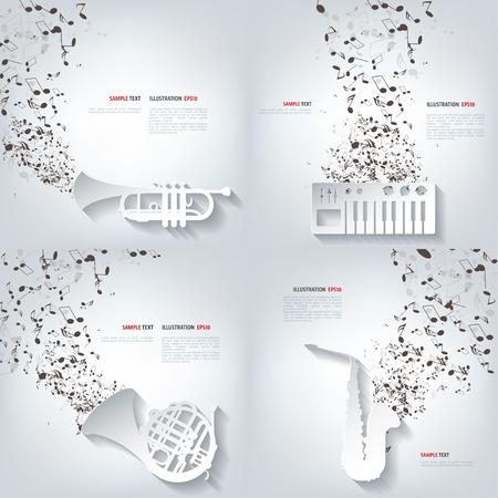 clave de fa: fondo musical abstracta con las notas. Música, sonido.
