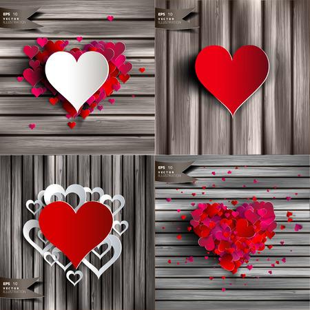 Valentijnsdag. Abstracte kaarten met papieren harten. Liefde hart.