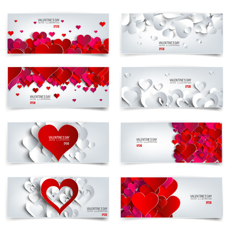 abstract love: Valentines day. Abstract cards with paper hearts. Love, heart.