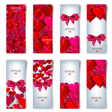 Valentines day. Abstract cards with paper hearts. Love, heart. Stock Vector - 50452275