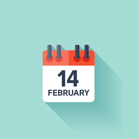 february 14: February 14, calendar icon. Valentines day. Love. Date. Illustration