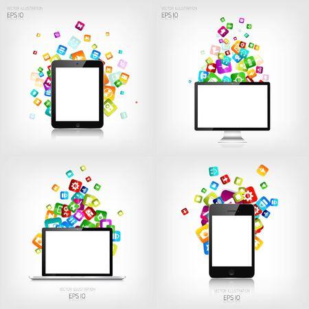Application button.Social media.Cloud computing. Smartphone, laptop, tablet. Illustration