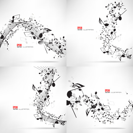 Vector illustration. Music, abstract musical background with notes. Vettoriali