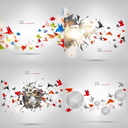Origami de papel aves en el fondo abstracto. Cartón, hecho a mano. Foto de archivo - 50766299
