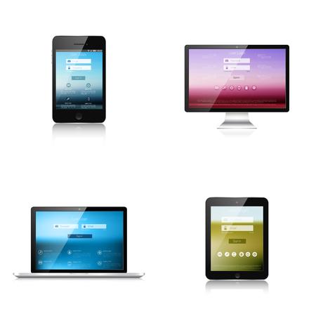 display size: Responsive web design. Adaptive user interface. Digital devises. Laptop, tablet, monitor, smartphone. Web site template concept.