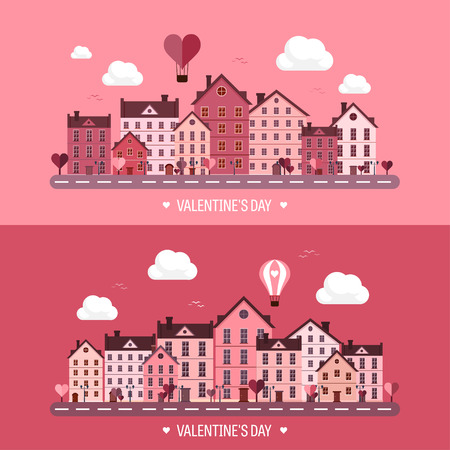town: Vector illustration. City with hearts. Love. Valentines day. 14 february. Cityscape. Town.