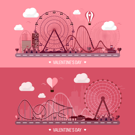 large group of objects: Vector illustration. Valentines day. Love. 14 february. Park. Ferris wheel. Roller coaster.