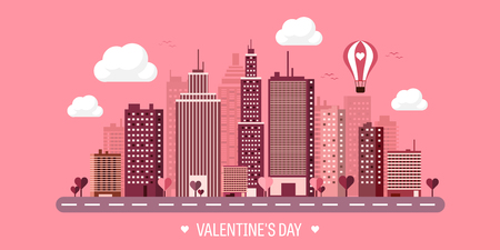 red light district: Vector illustration. City with hearts. Love. Valentines day. 14 february. Cityscape. Town.