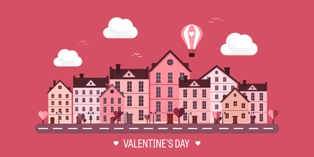 14 february: Vector illustration. City with hearts. Love. Valentines day. 14 february. Cityscape. Town.