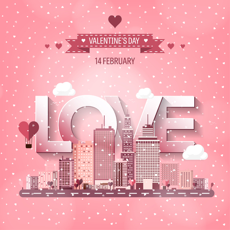 Vector illustration. City with hearts. Love. Valentines day. 14 february. Cityscape. Town.
