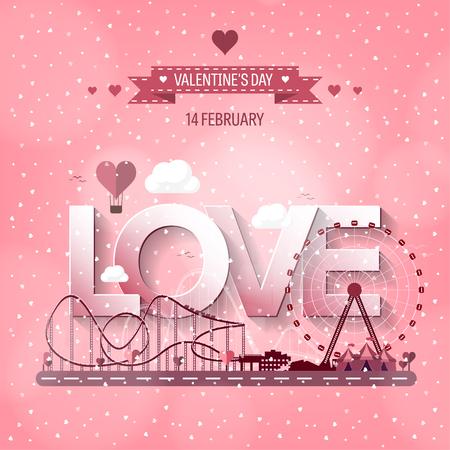 love park: Vector illustration. Valentines day. Love. 14 february. Park. Ferris wheel. Roller coaster.