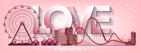 large group of object: Vector illustration. Valentines day. Love. 14 february. Park. Ferris wheel. Roller coaster.