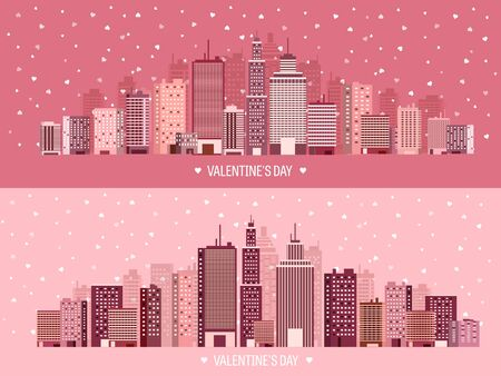14 of february: Vector illustration. City with hearts. Love. Valentines day. 14 february. Cityscape. Town.