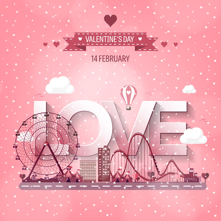 14 of february: Vector illustration. Valentines day. Love. 14 february. Park. Ferris wheel. Roller coaster.