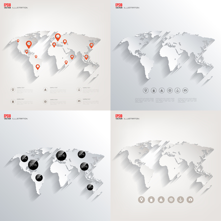 Vector illustration. World map concept. Travel. Navigation. Banners set.