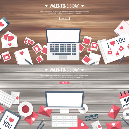 Vector illustration. Flat background with computer, laptop. Love, hearts. Valentines day. Be my valentine. 14 february.  Message. Wooden texture. Illustration