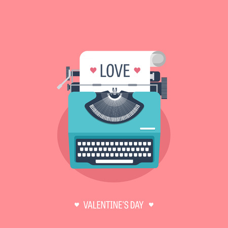 old typewriter: Vector illustration. Flat background with typewriter. Love, hearts. Valentines day. Be my valentine. 14 february.