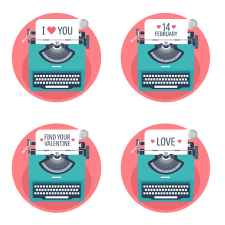 typewriting machine: Vector illustration. Flat background with typewriter. Love, hearts. Valentines day. Be my valentine. 14 february.