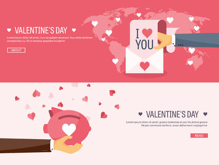 14 of february: Vector illustration. Flat background with envelope and piggy bank. Love, hearts. Valentines day. Be my valentine. 14 february.  Message.