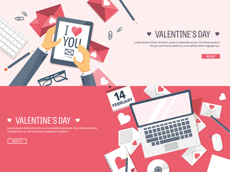 Vector illustration. Flat background with tablet, laptop. Love, hearts.