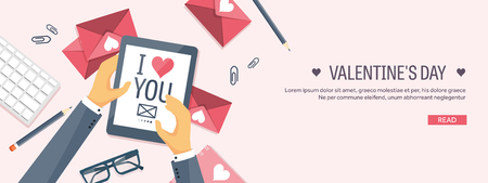 editorial design: Vector illustration. Flat background with tablet. Love, hearts. Valentines day. Be my valentine. 14 february.