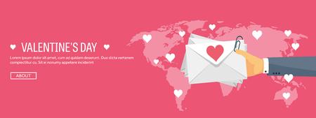 love letter: Ilustración del vector. de fondo plano con el sobre. Amor, corazones. Día de San Valentín. Sé mi Valentín. 14 de febrero. Mensaje.