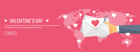 love letter: Vector illustration. Flat background with envelope. Love, hearts. Valentines day. Be my valentine. 14 february.  Message.
