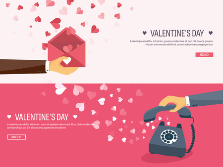 14 of february: Vector illustration. Flat background with envelope. Love, hearts. Valentines day. Be my valentine. 14 february.  Message.