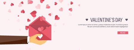 carta de amor: Ilustración del vector. de fondo plano con el sobre. Amor, corazones. Día de San Valentín. Sé mi Valentín. 14 de febrero. Mensaje.