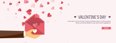 feb: Vector illustration. Flat background with envelope. Love, hearts. Valentines day. Be my valentine. 14 february.  Message.
