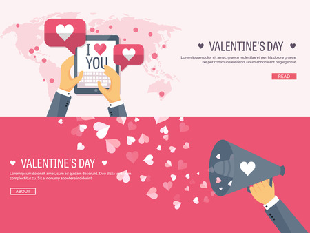typewriting machine: Flat background with tablet and loudspeaker. Love, hearts. Valentines day. Be my valentine. 14 february. Illustration