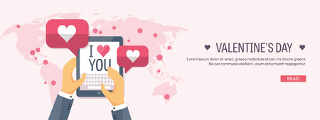 14 of february: Flat background with tablet. Love, hearts. Valentines day. Be my valentine. 14 February. Illustration