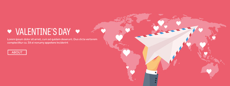 14 february: Flat background with envelope, paper plane. Love, hearts. Valentines day. Be my valentine. 14 February.  Message.