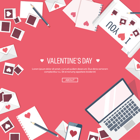 14 february: Flat background with computer, laptop. Love, hearts. Valentines day. Be my valentine. 14 February.  Message.