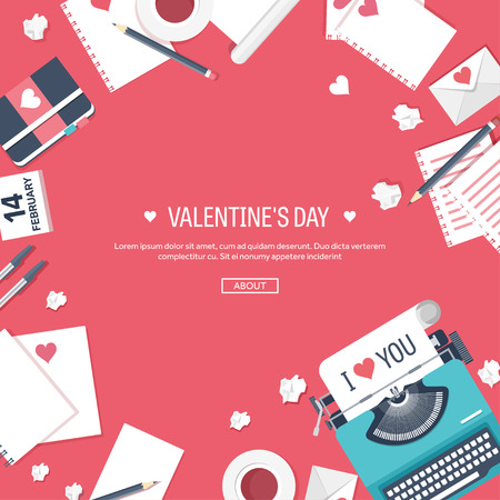 14 of february: Flat background with typewriter. Love, hearts. Valentines day. Be my valentine. 14 February.