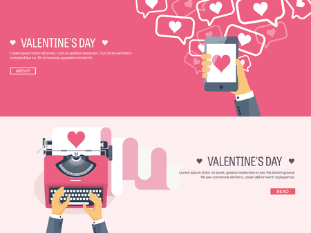 typewrite: Vector illustration. Flat background with typewriter and smartphone in hand. Love, hearts. Valentines day. Be my valentine. 14 february.