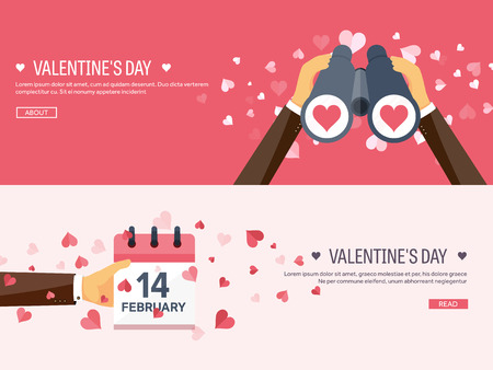 14: Vector illustration. Flat background with binoculars and calendar. Love, hearts. Valentines day. Be my valentine. 14 february. Illustration