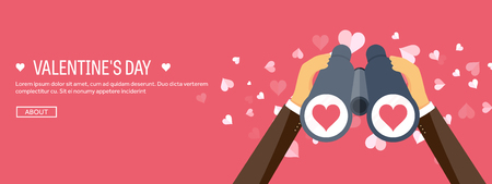 14 february: Vector illustration. Flat background with binoculars. Love, hearts. Valentines day. Be my valentine. 14 february.