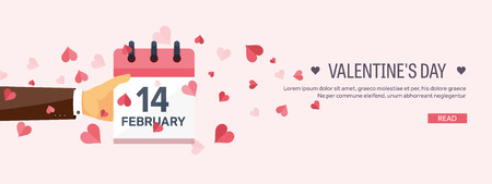 february calendar: Vector illustration. Flat background with hand and calendar. Love, hearts. Valentines day. Be my valentine. 14 february.
