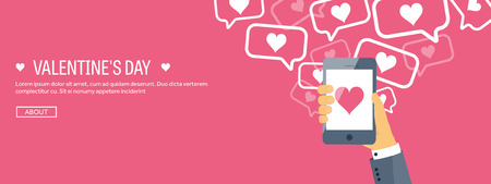 14 february: Vector illustration. Flat background with smartphone. Love, hearts. Valentines day. Be my valentine. 14 february. Illustration