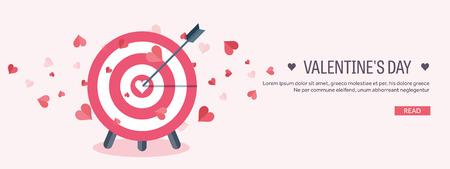 Illustrazione vettoriale Sfondo piatto con destinazione. Cuori d'Amore. San Valentino. Sii il mio San Valentino. 14 febbraio Archivio Fotografico - 51578376