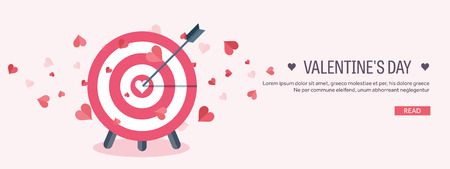 Vector illustration. Flat background with target. Love, hearts. Valentines day. Be my valentine. 14 february.