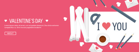 14 february: Vector illustration. Flat background with paper, envelope. Love, hearts. Valentines day. Be my valentine. 14 february.
