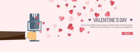 valentine musical note: Vector illustration. Flat musical background with microphone. Love, hearts. Valentines day. Be my valentine. 14 february.