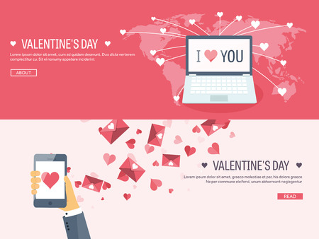 14 february: Vector illustration. Flat background with smartphone and laptop. Love, hearts. Valentines day. Be my valentine. 14 february.
