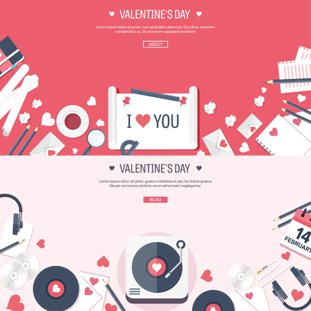 rhythm: Vector illustration. Flat musical background with vinyl. Love, hearts. Valentines day. Be my valentine. 14 february.