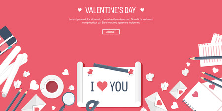 14 of february: Vector illustration. Flat background with paper, envelope. Love, hearts. Valentines day. Be my valentine. 14 february.