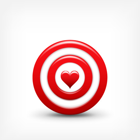 love target: Vector illustration. Target with heart. Valentines day. Love. Aim.