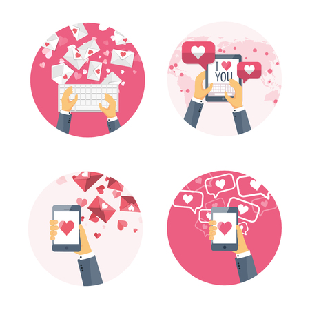shiny heart: Vector illustration. Flat background with keyboard, hand, smartphone, tablet . Love, hearts. Valentines day. Be my valentine. 14 february.